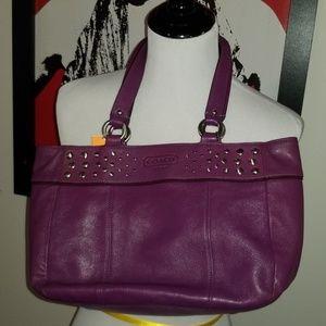 Coach #15235 Purple E/W Leather Studded Tote Bag
